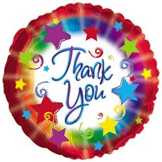 Foil Balloons - Foil Balloon 17 (42.5cm Dia) Round Thank You Burst