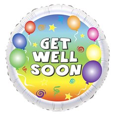 Foil Balloons - Foil Balloon 17 (42.5cm Dia) Round Get Well Balloons