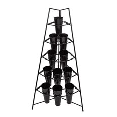 Flower Stand Tall 5-Tier Angle 81x56x158cmH 11 Buckets Black