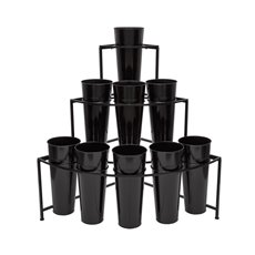 Flower Stand Display 3-Tier Angle 94x67x95cmH 9Buckets Black