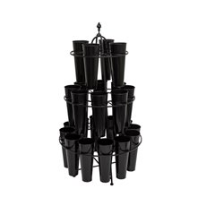 Flower Display Stand - Flower Stand Centre Display 82.5Dx151cmH 24 Buckets Black