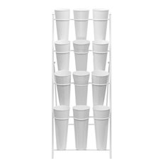 Flower Display Stand - Flower Stand Concise 4-Tier 59x67x138cmH 12 Buckets White