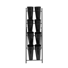 Flower Display Stand - Flower Stand Compact 4-Tier 41x70x135cmH 8 Buckets Black
