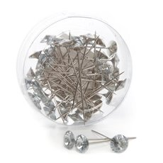Corsage Decorative Florist Pins - Round Diamond Head Silver Pins Clear (12mm x 6cm) 48 pcs
