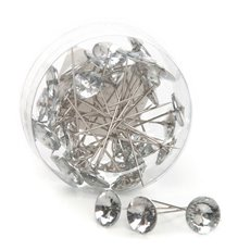 Corsage Decorative Florist Pins - Round Diamond Head Silver Pins Clear (15mm x 6cm) 36 pcs