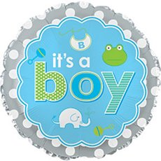 Foil Balloons - Foil Balloon 9 (22.5cm Dia) Rnd Its A Boy Baby Icons Blue