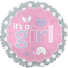 Foil Balloon 9 (22.5cm Dia) Rnd Its A Girl Baby Icons Pink