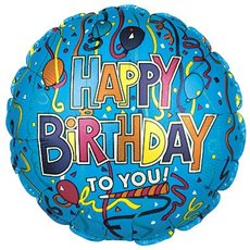 Foil Balloon 9 (22.5cm Dia) Round Happy Birthday To You