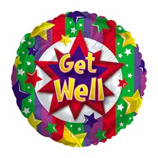 Foil Balloons - Foil Balloon 9 (22.5cm Dia) Round Get Well Colourful Burst