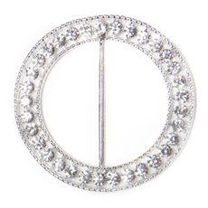 Corsage Bouquet Buckles - Corsage Buckle Diamante Round Large Silver (60mm)
