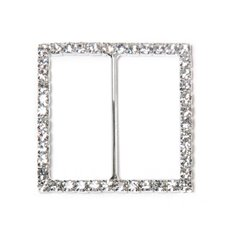 Corsage Bouquet Buckles - Corsage Buckle Diamante Square Large Silver (45mm)