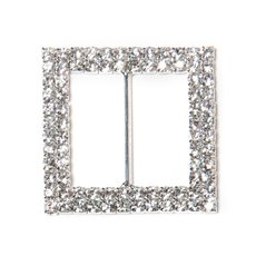 Corsage Buckle Double Diamante Square Silver (45mm)