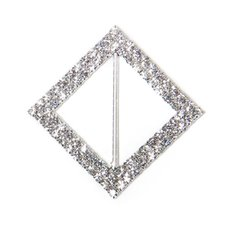 Corsage Bouquet Buckles - Corsage Buckle Double Diamante Diamond Square Silver (45mm)