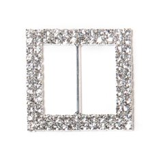 Ribbon Slider Buckles - Corsage Buckle Double Diamante Square Silver (45mm) Pack 12