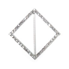 Ribbon Slider Buckles - Corsage Buckle Diamante Diamond Silver (45mm) Pack 12