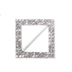 Ribbon Slider Buckles - Corsage Buckle Double Diamante Diamond Square (45mm) Pack 12