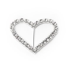 Ribbon Slider Buckles - Corsage Buckle Diamante Heart Medium (40mmx45mm) Pack 12