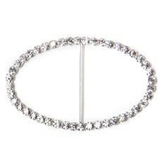 Ribbon Slider Buckles - Corsage Buckle Diamante Oval Large (50x80mm) Pack 12