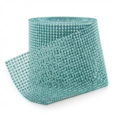 Corsage Bouquet Accessories - Diamante Mesh Roll Aqua (11.5cmDx9.14m)