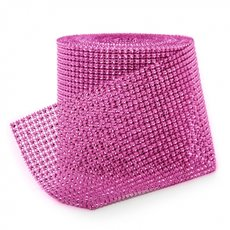 Corsage Bouquet Accessories - Diamante Mesh Roll Hot Pink (11.5cmDx9.14m)