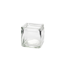 Recycled Style & Coloured Vases - Glass Country Cube Clear (10x10x10cmH)