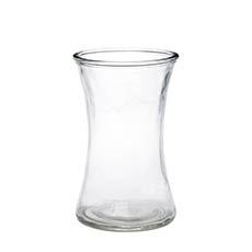 Recycled Style & Coloured Vases - Glass Country Vase Concaved Sided Clear (12.5Dx20cmH)