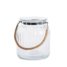 Recycled Style Glass Vases - Hurricane Glass Jar with Jute Rope Clear (15Dx17cmH)
