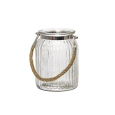 Recycled Style Glass Vases - Hurricane Glass Jar with Jute Rope Clear (11Dx15cmH)