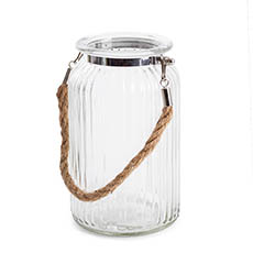 Recycled Style Glass Vases - Hurricane Glass Jar with Jute Rope Clear (11Dx18.5cmH)
