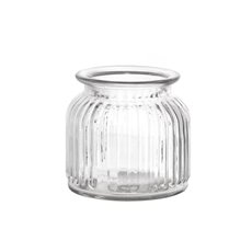 Recycled Style & Coloured Vases - Hurricane Glass Jar Clear Small (11Dx10.5cmH)