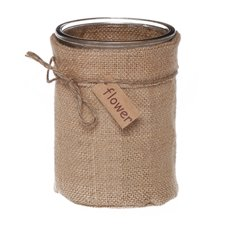 Glass Country HESSIAN Cylinder Vase Natural Jute (10Dx20cmH)