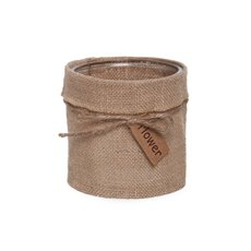 Glass Country HESSIAN Cylinder Vase Natural Jute (10Dx10cmH)