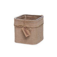 Glass Country HESSIAN Cube Vase Natural Jute (10x10x10cmH)