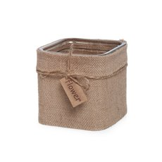 Glass Country HESSIAN Cube Vase 12x12x12cmH Natural Jute