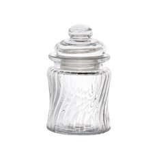 Mason Jars - Glass Mini Jar Twisted Stripes with Lid Clear (7.5Dx12cmH)