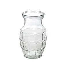 Recycled Style & Coloured Vases - Glass Country Ginger Vase Gingham 12.5x20cmH Clear