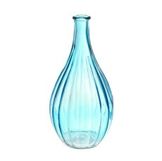 Glass Vintage Bottle Bud Vase 10x20cmH Blue