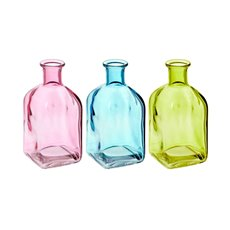 Glass Vintage Bottle Squat Square Set/3 6.5x13.5cmH
