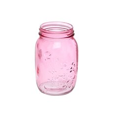 Mason Jars - Glass Mason Jar Large 10x17cmH Pink