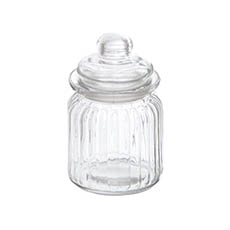 Glass Candy Jar w Lid 7.5x12.5cmH Clear
