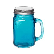 Mason Jars - Glass Mason Jar Medium with Handle and Lid 8.5Dx13.5cmH Blue