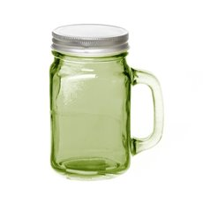Mason Jars - Glass Mason Jar Medium with Handle and Lid 8.5x13.5cmH Green