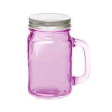 Mason Jars - Glass Mason Jar Medium with Handle and Lid 8.5x13.5cmH Pink