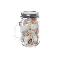 Shells & Assorted Vase Decor - Glass Mason Jar with Assorted Shells Clear (10x8x13.5cmH)