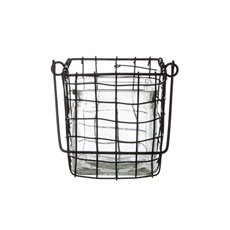 Metal Wired Glass Cube Clear (15x12x14cmH)