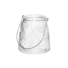 Glass Leaf Pattern Jar with Handle Clear (8.5x13cmH)