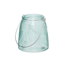 Recycled Style & Coloured Vases - Glass Leaf Pattern Jar with Handle Tropical Green 8.5x13cmH