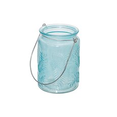 Recycled Style & Coloured Vases - Glass Leaf Cylinder with Handle Coastal Aqua (9.5x13.5cmH)