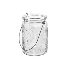 Glass Leaf Cylinder with Handle Clear (9.5x13.5cmH)