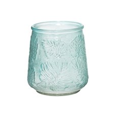 Glass Philo Leaf Pattern Posy Vase Coastal Aqua 10.5x13.5cmH